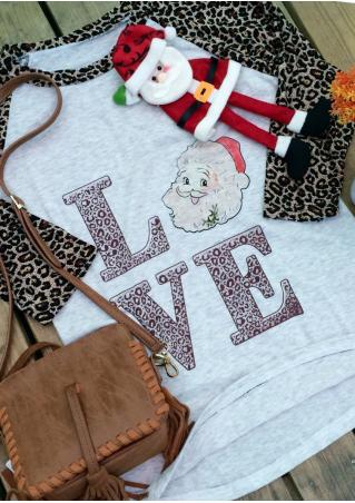 Christmas Letter Leopard Printed Splicing O-Neck T-Shirt Christmas