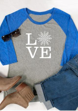 Christmas Snowflake Love Printed T-Shirt