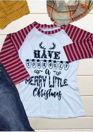 MERRY LITTLE CHRISTMAS Printed Striped Splicing T-Shirt