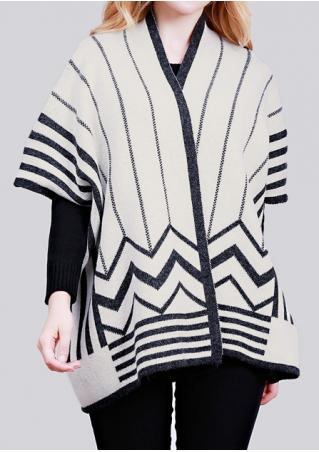 Striped Knitted Batwing SLeeve Cardigan