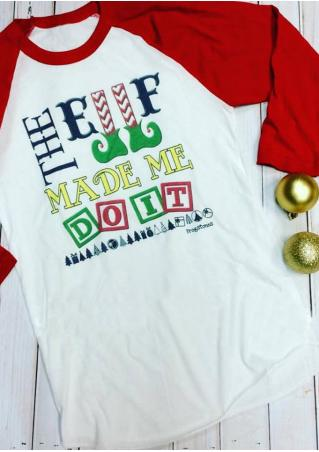 Christmas Letter Printed Splicing T-Shirt Without Jingling Bells