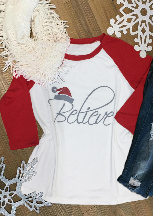 Christmas Hat Believe Printed Splicing T-Shirt - Fairyseason