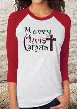 Christmas Letter Printed Splicing O-Neck T-Shirt