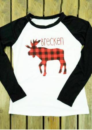 Christmas Plaid Reindeer Letter Printed Splicing T-Shirt