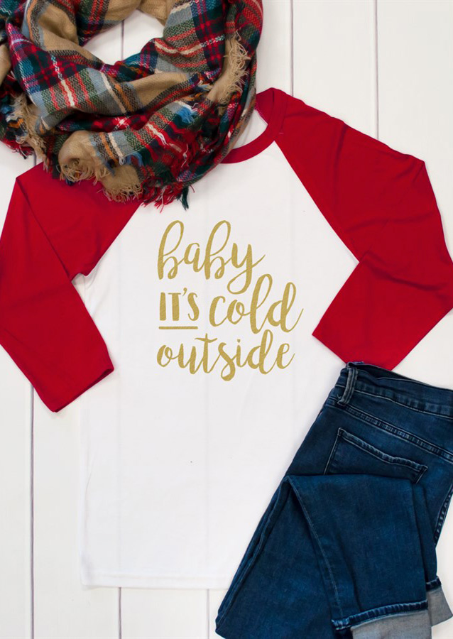 Baby It S Cold Outside Shift Dress: Baby It's Cold Outside Printed Splicing O-Neck T-Shirt