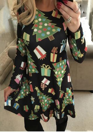 Christmas Printed Long Sleeve Dress