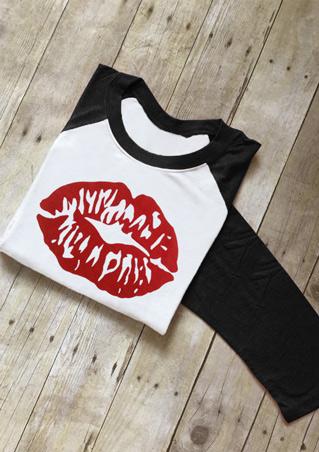 Lip Printed Splicing O-Neck T-Shirt