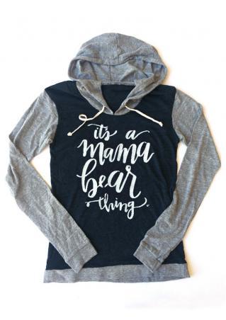 Mama Bear Letter Printed Splicing Long Sleeve Hoodie