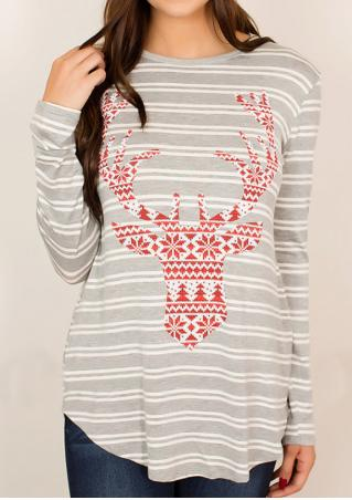 Christmas Striped Snowflake Reindeer Printed T-Shirt
