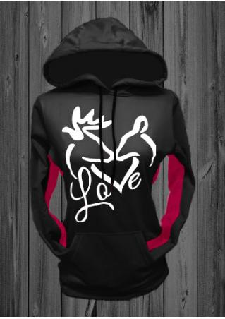 Christmas Love Kiss Rindeer Printed Kangaroo Pocket Chic Hoodie