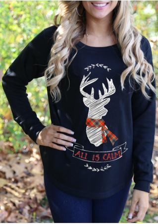 Christmas Reindeer Letter Printed Sweatshirt Christmas