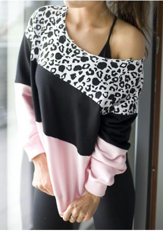 Leopard Color Block Slash Neck T-Shirt