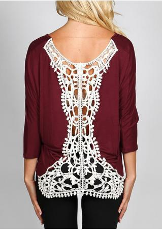 Lace Splicing Three Quarter Sleeve O-Neck Blouse