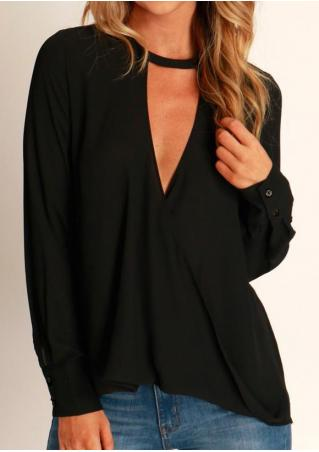 Solid Asymmetric Hollow Out Button Blouse