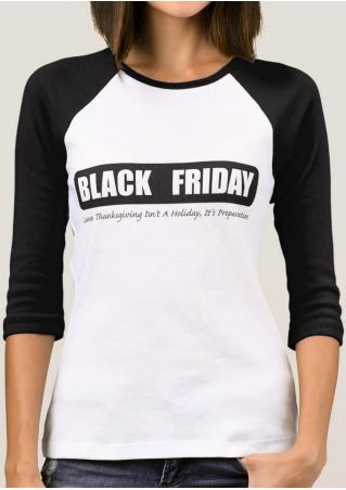 BLACK FRIDAY Printed Splicing T-Shirt BLACK