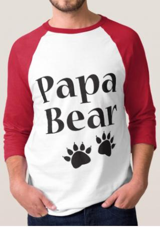 Papa Bear Paw Printed Splicing T-Shirt