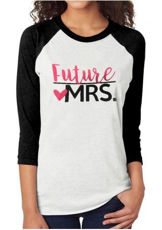 FUTURE MRS Printed Splicing T-Shirt