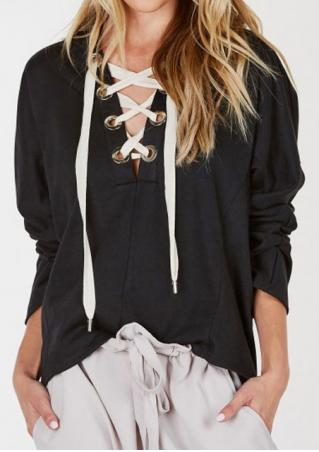 Solid Lace Up V-Neck Hoodie