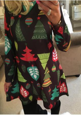 Christmas Tree Printed O-Neck Mini Dress
