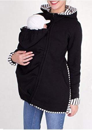 Solid Side Zipper Kangaroo Pocket Casual Hoodie