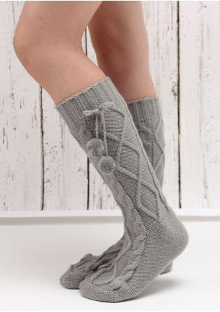 Solid Knitted Pompon Socks