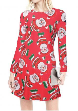 Christmas Printed Mini Dress
