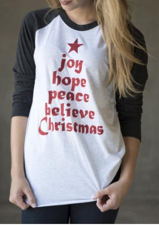 Christmas Letter Printed Baseball T-Shirt Christmas