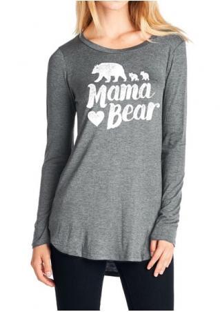 Mama Bear Heart Long Sleeve T-Shirt