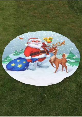 Christmas Santa Claus Reindeer Picnic Blanket