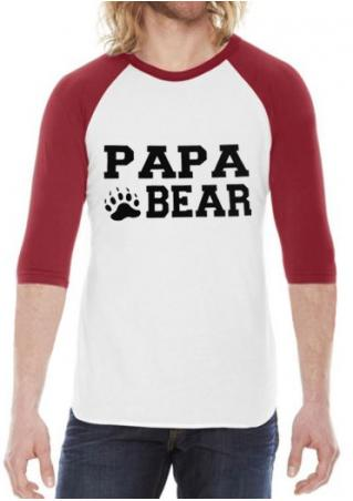PAPA BEAR Printed Three Quarter Sleeve Baseball T-Shirt