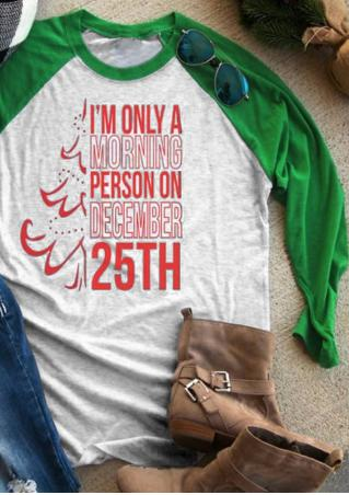 Christmas Letter O-Neck Baseball T-Shirt Christmas