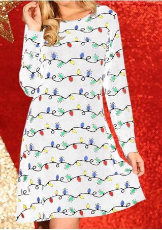 Multicolor Light Printed Long Sleeve Mini Dress