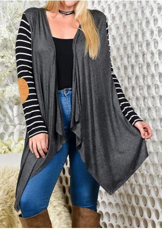 Elbow Patch Striped Splicing Cardigan Without Necklace