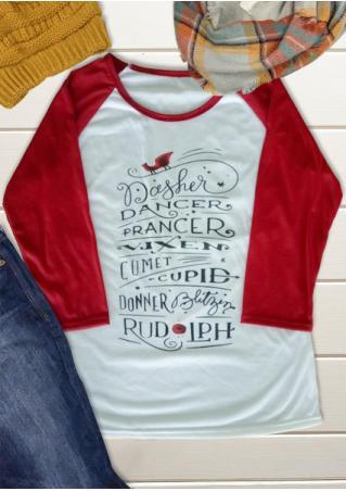 Christmas Letter Casual Baseball T-Shirt
