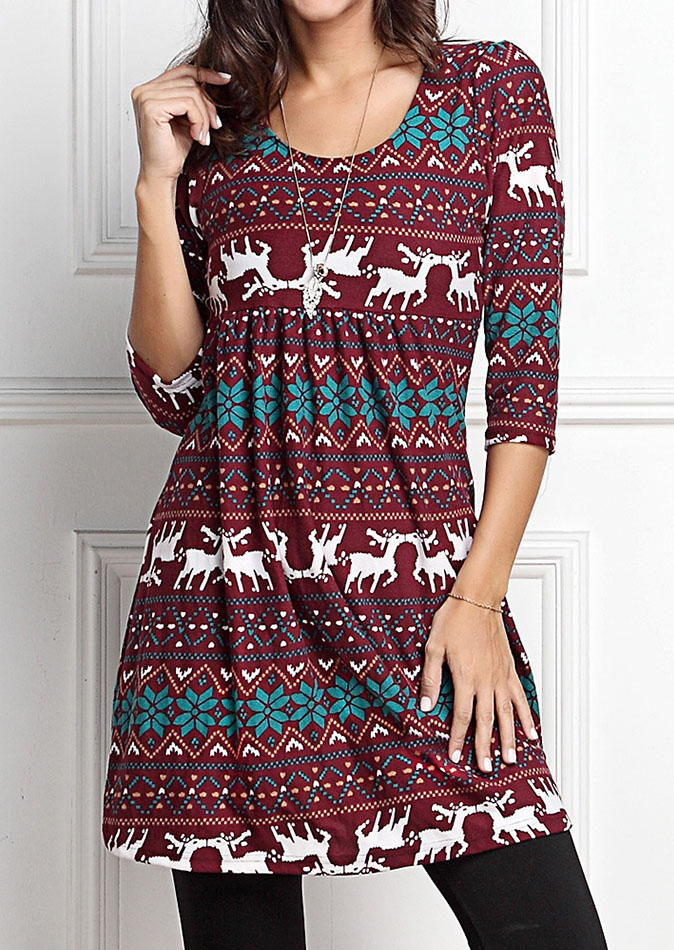 Christmas reindeer o neck mini dress without necklace fairyseason