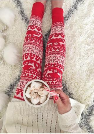 Christmas Reindeer Sonwflake Love Stretchy Skinny Leggings