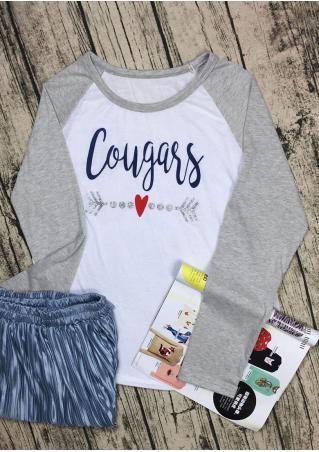 Cougars Heart Long Sleeve Baseball T-Shirt Cougars