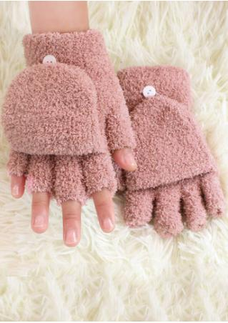 Solid Button Clamshell Gloves