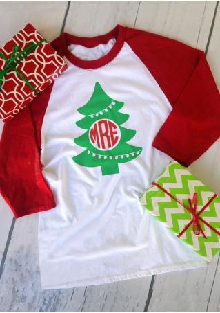 Christmas Tree & Reindeer & Hat MRE Baseball T-Shirt