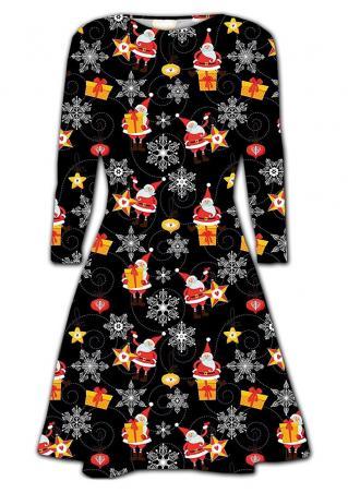 Christmas Santa Claus & Shimmer Long Sleeve Dress
