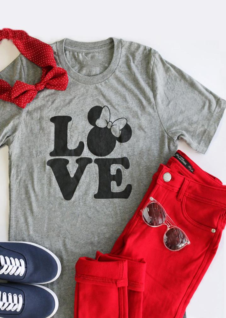 Love Mickey Mouse Short Sleeve T Shirt Fairyseason