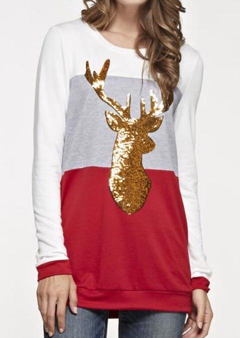 Tricou lung de damă, fashion, cu imprimeu multicolor și mâneci lungi