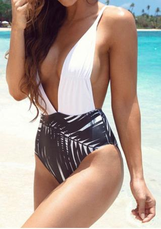 Printed Color Block Sexy Swimsuit