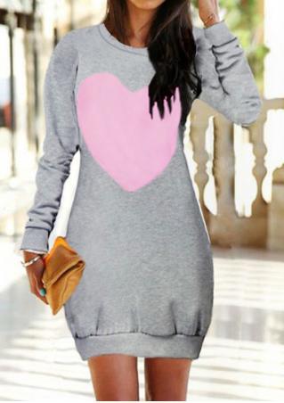 Heart Color Block Long Sleeve Dress