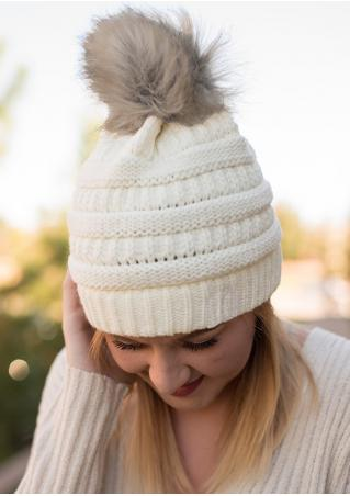 Solid Pompon Knitted Warm Hat