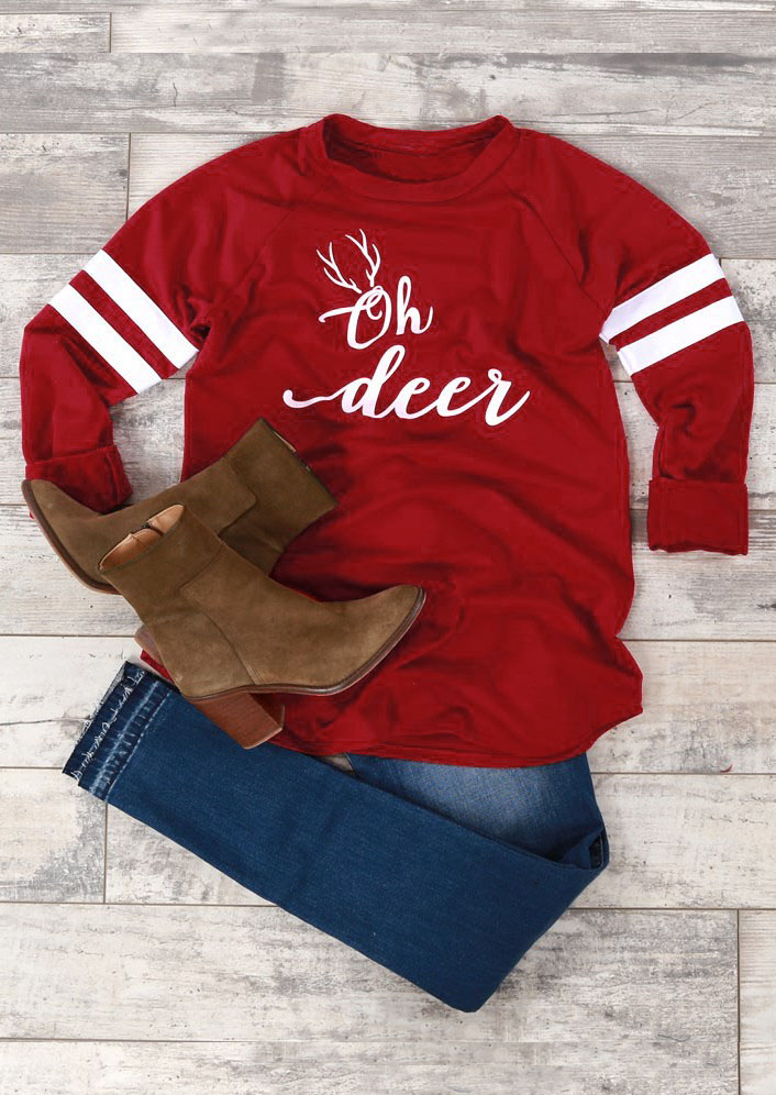 Christmas Oh Deer Striped T Shirt Fairyseason