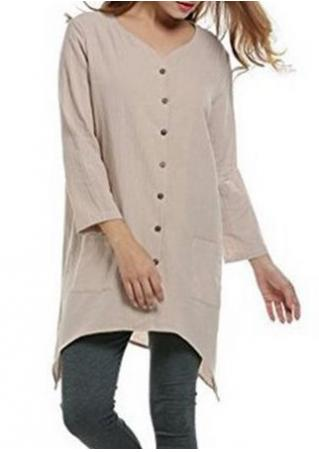 Solid Asymmetric Button Pocket Blouse Solid