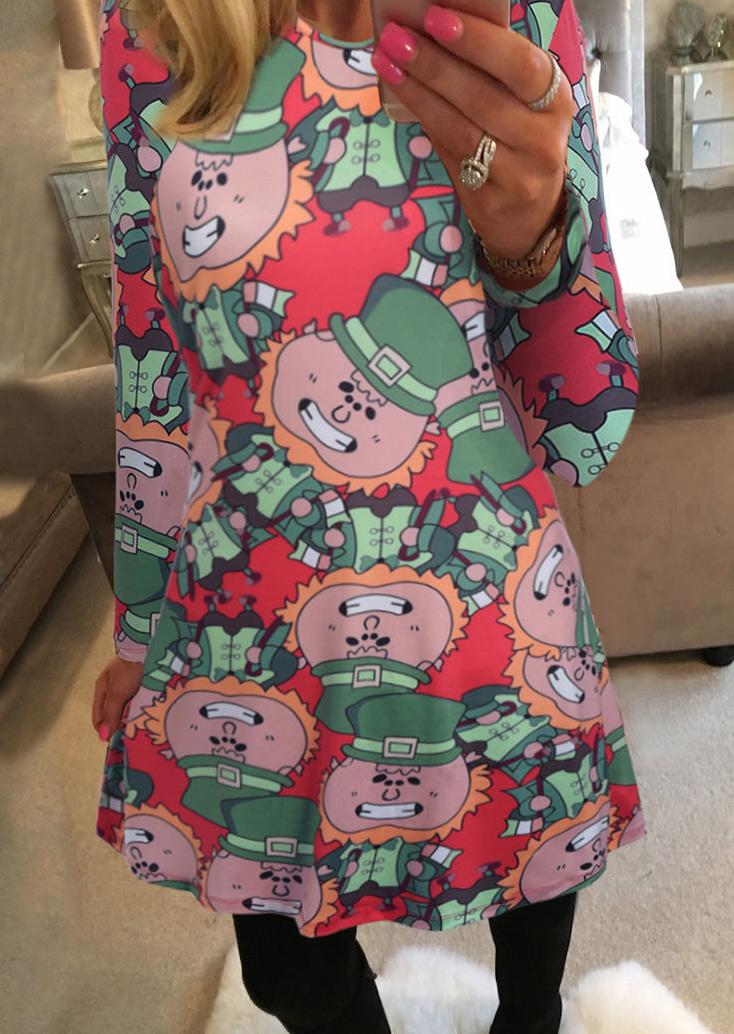 Image of Christmas Cartoon Color Block Dress