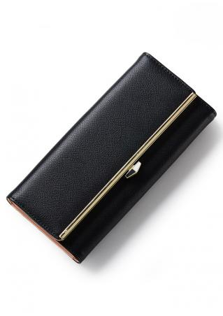 Solid PU Interior Compartment Pocket Wallet