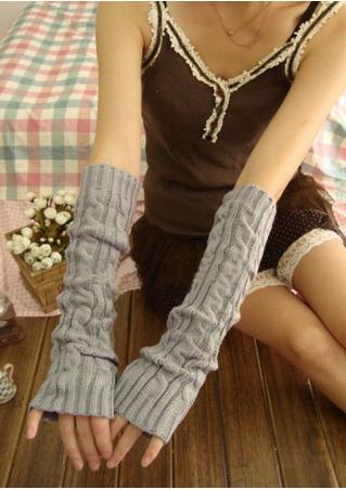 Solid Fingerless Knitted Gloves Solid